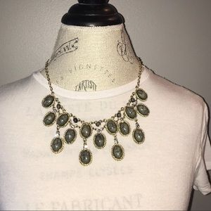 Dark Gray Chandelier Statement Necklace